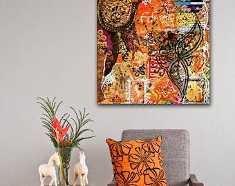 ON SALE 20% OFF bohemian art - mixed media collage - orange wall art - canvas art
