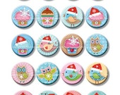 12 and 16 mm digital collage sheet Christmas Party. Xmas printables digital instant download for earrings, jewelry. Blue, pink, cream colors