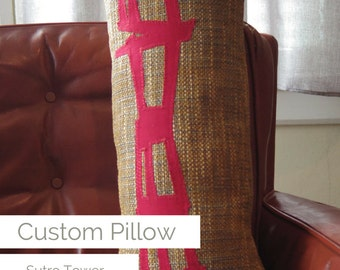 Huggable SF Sutro Tower One-of-a-Kind Custom Pillow