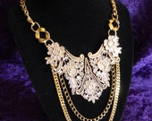 Gold Filigree Statement Chain Necklace