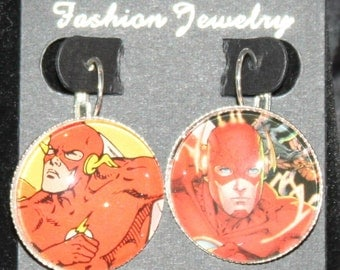 Flash DC Justice League Earrings Silver Drop Comic Book