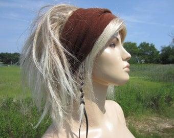 Hair Accessories Knit Headband Wide Hair band Head Warmer Brown Cotton Cashmere Tube Hat A1392