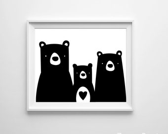 Bear Nursery Boy Forest Woodland Zoo Kid's Art Print Heart Black White many sizes available