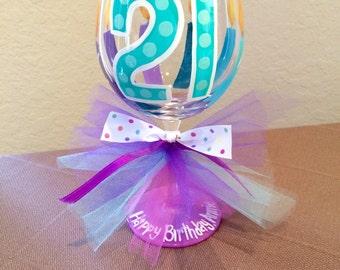 Aqua and Purple 21st birthday wine glass