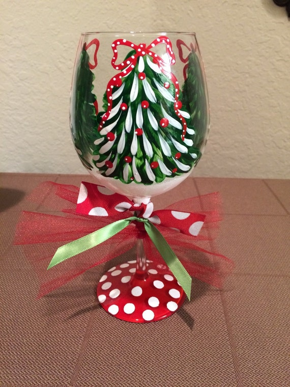 Christmas tree wine glass for Holiday stemware