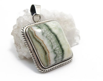 Genuine Striped Agate Stone Pendant set in Sterling Silver for Necklace