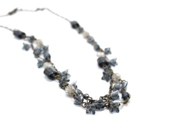 Vintage Navy Glass Charms of Square Flowers Necklace
