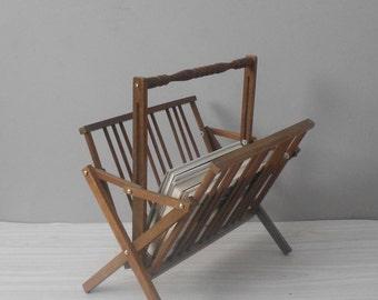 vintage mid century modern folding magazine wood rack / brown