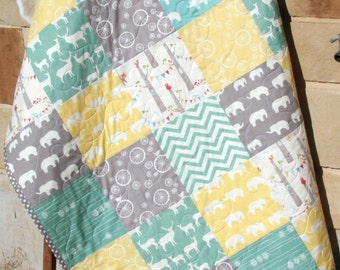 Baby Quilt, Organic Gender Neutral, Yellow Aqua Pool Teal Blue Grey, Deer Elephant Woodland Forest, Bunting Chevron, Boy Girl, Toddler Quilt