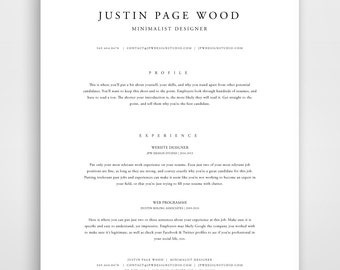 Classic Resume Resume Template Instant Download Resume And Cover Letter  Template Classic Modern   Simple Resume  Simple Resume Template Word