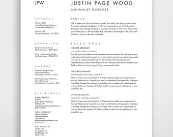 Resume And Cover Letter, CV Template, Curriculum Vitae, Downloadable Resume,  Simple Resume