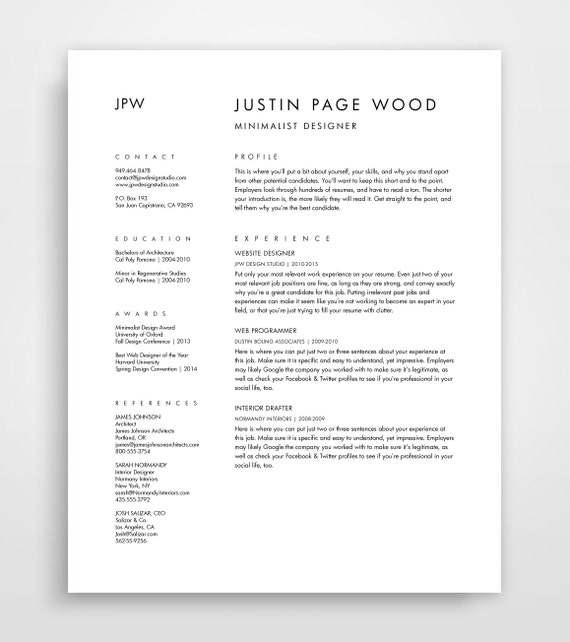 resume and cover letter cv template curriculum vitae downloadable resume simple resume - Minimalist Resume Template