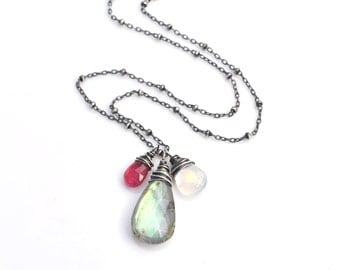 Pink Tourmaline Moonstone & Labradorite Pendant Necklace, Multi Gemstone Blue Flash Labradorite Necklace