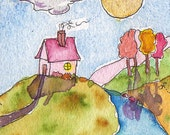Tiny House, Fantasy Landscape, ACEO, Collectible Art, ATC