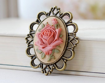 Large Cameo Brooch Victorian Ivory Dusty Pink Rose Cameo Antiqued Bronze Bridal Wedding Favor Gift Flower Bouquet Accessory Christmas Gift