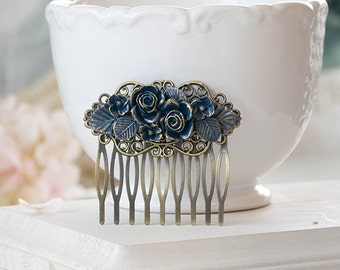 Rustic Vintage Dark Blue Gold Flower Bouquet Swag Hair Comb Navy Blue Floral Antiqued Brass Filigree Hair Comb Victorian Style Gothic Goth
