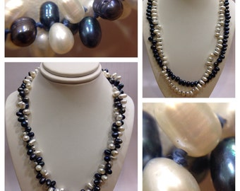 Blue and white pearl strand twist sterling silver accents necklace