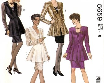 McCall's 5659 Misses' Jacket, Tank Top and Skirt Sewing Pattern - Uncut - Size 8 - Bust 31.5