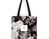 Literary Tote Bag, Floral Tote, Blake, Handmade canvas tote bag with pocket, canvas bag, quote bag, Bookish tote bag, Gifts for Writers