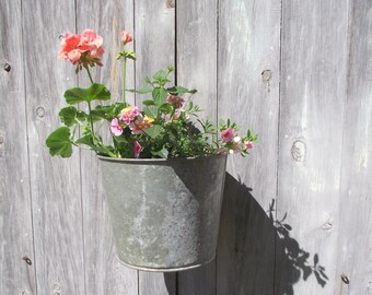 Vintage Sap Buckets | Set of 2 Industrial Galvanized Container Planters | Shabby Cottage Chic | Wedding Decor | Summer Farmhouse Decor