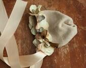 FLOWER BONNET, baby bonnet, rustic flower bonnet, photography prop, newborn hat, flower hat, baby girl hat, baby shower gift,