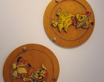 Pair of Key Holders - Cute Vintage Wooden Animals - Wall Decor