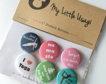 "I Love Yoga Pinback Buttons --- 1"" Pinback Button Set (6 Buttons)"