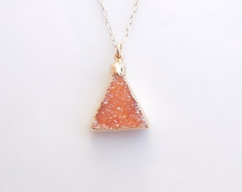 Orange Druzy Necklace - OOAK Jewelry