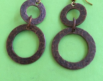 Brass Hammered and Dipped Earrings