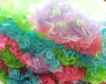 Neon Rainbow Nylon Petticoat Slip Full Circle Skirt Tutu Swing