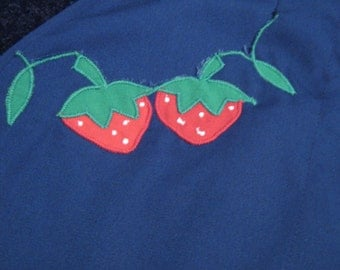 Dark Blue Strawberry Fruit Novelty Print Skort