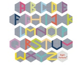 Hexie Alphabet, paper pieced pattern, PDF pattern, foundation pattern, English paper piecing, English hexagone