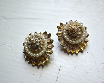 1960s Shell and Pearl Clip Earrings