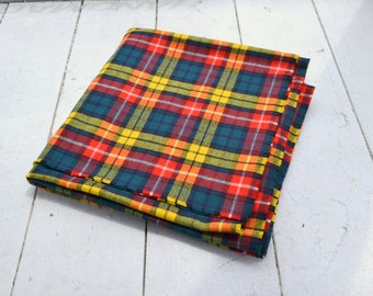 1970s Thin Wool Plaid Blanket, Made in England