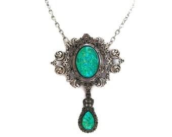 Mermaid Lake Opal Edwardian Oval Filigree Necklace