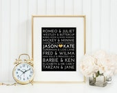 Famous Couples Subway Print, Custom, Personalized, Black, Gold, 8x10, 11x14, 16x20, wedding gift, anniversary, modern, christmas, gift