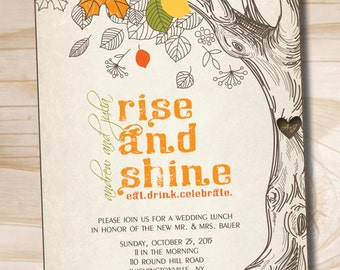 Rise and Shine Morning After Wedding Brunch Breakfast Lunch - Printable digital file or printed invitations
