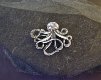 Sterling Silver Octopus Brooch