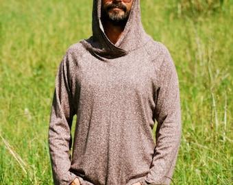 Eco Friendly Hoodie in Heathered Mocha - Hemp - Organic Cotton - Organic Clothing - Raglan Sleeve