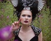 Bird Wing 'Dark Forest' Black Glitter Holly Gothic Couture Headdress