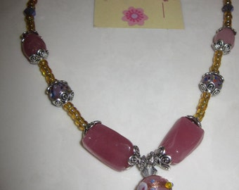 NECKLACE and EARRING SET - Pink/Multicolor Beads