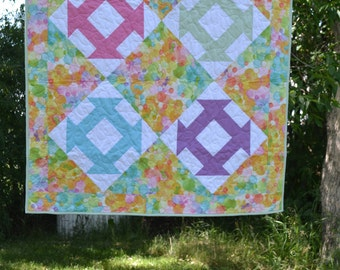 Pastel Brights Baby Quilt, Pram Quilt, Minky Baby Blanket, Green, Pink, Yellow