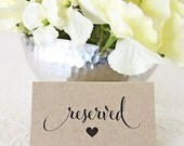 Reserved Cards, Place Card, Reserved Chair, VIP Seating, Wedding Sign, Ceremony Seating, Formal Script, Stationery - Set of 10 (FDPC-CAN)