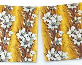 Barkcloth Curtains, Barkcloth Drapes, Bark Cloth, Rhinocloth, Gold Barkcloth, Floral Barkcloth Fabric