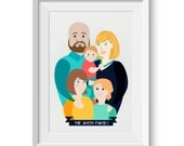 Custom Family A4 Print Portrait Artwork Gift
