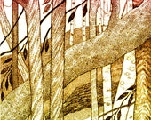 Enchanted Woods Autumn Hand Made Card, Archival Reproduction of an original pen and ink.