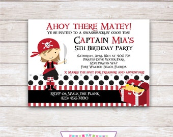 PIRATE GIRL Red Birthday Party Invitation - Printable