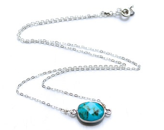 Turquoise Magnesite and Sterling Silver . Necklace