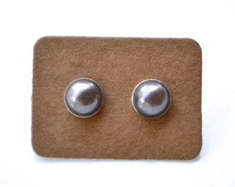 Dark Grey Pearl Studs . Earrings . Pearl Stud Collection