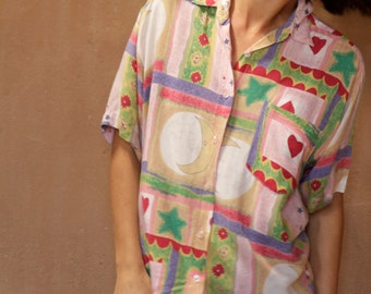 90s MOON new age celestial button up shirt